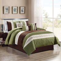 7Pc Queen SAGE Green Beige Brown Paisley Embroidered Comforter Set Bedding