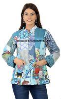Indien Coton Femmes Veste Hiver Handmade Floral Réversible Blazer Taille Manteau