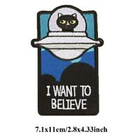 Unknown Cosmic UFO Cat Embroidered Patches Iron On For Clothing Cap DIY Badges