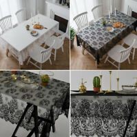 Kitchen Tablecloth Rectangle Square Lace Table Cloth Wedding Party White Black