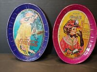 """Set of 2 Vtg Authentic Oval Coca Cola COKE Metal Tip Trays 6"""" X 4.5"""" See Photos"""