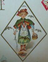 Halloween Postcard Nash H 13 Embossed Diamond Girl Bats Original Unused Vintage