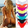 Brazilian Women Bikini Bottom Cheeky Ruched Side-Tie V Thong Swimwear Swimsuit