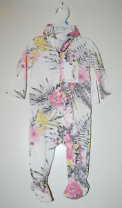 NWT Jessica Simpson Infant Girls Pink Tropical LS Footed Romper & Headband 3-6M