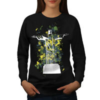 Wellcoda Christ Redeemer Brazil Womens Sweatshirt, Rio Casual Pullover Jumper