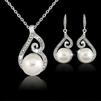 Silver Plated Pendant Necklace Earrings Jewelry Set Crystal Pearl Women Jewelry