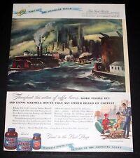 1947 MAGAZINE PRINT AD, MAXWELL HOUSE COFFEE, PART OF THE AMERICAN SCENE, ART!