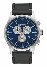 **BRAND NEW** NIXON WATCH THE SENTRY CHRONO LEATHER BLUE SUNRAY A4051258 NIB