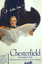 Chesterfield Cigarettes LIGGETT MYERS TOBACCO Ad - 1922 Advertising Matted