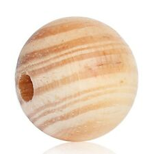 50 Stück 20mm Kiefer Holzperlen Rund Loch Schmuck Basteln Deko Perlen Holz DIY