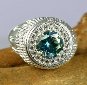 Green Diamond Solitaire With Accents 4.23 Ct Men's Ring Ideal Gift For Husband