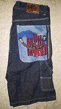 Platinum FUBU Limited Edition Muhammad Ali Men's Jean Shorts  Size 38 DARK BLUE