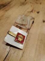 SHELL OIL COMPANY ENAMELED BRASS TIE BAR CLIP NEW OLD STOCK!!!