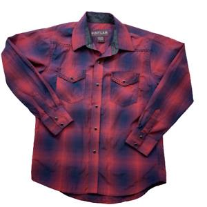 Pintlar Boys Blue & Pink Plaid Pearl Snap Button Up Shirt Long Sleeve Size L