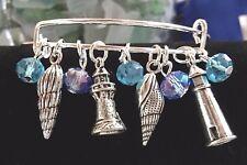 Light House & Conch Sea Shells 2 Sided Silver charms Bracelet & FREE EARRINGS