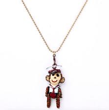 Betsey Johnson Rock Crystal pendant Cute little monkey necklace N307