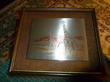 Vintage Harry Antis Framed Aluminum Art Giraffe Print #697/3500