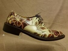 Gianni Barbato Women Floral Tan Brown Leather Oxford Lace Up Shoes Size 36