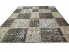 CUSTOM brown beige  vintage Overdyed Rug Handmade Turkish Patchwork Carpet rug