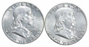 1962-D & 1962 BU Unc MS Franklin Silver Half Dollar Collection Lot *494
