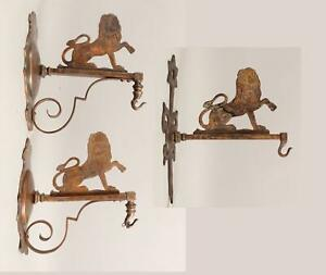 3 Antique, Early 20thC, Brass Lion Hanging Wall Hooks, Lamp Sconces, NR
