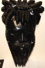BLACK JESUS HAND CARVED WOODEN CARVED FACE WALL MASK