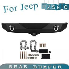 Fit 2007-2018 Jeep Wrangler JK New Black Textured Iron Steel Rear Bumper