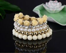 Lovely Cute 5 Bangle Bracelet Acrylic Pearl Bead Flower Gift for Girls Cream UK