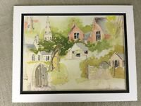 Rare Original Watercolor Painting Wendy Clouse Listed British Artist Village