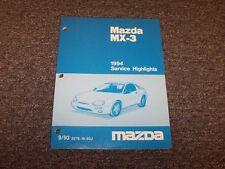 1994 Mazda MX3 Hatchback Service Highlights Shop Repair Manual GS 1.6L 1.8L