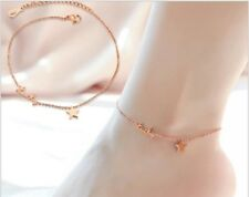 Rose Gold Stainless Steel Lucky Star Anklet Foot Ankle Chain Bracelet Gift PE13