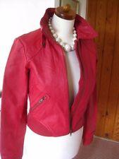 Ladies H&M DIVIDED red leather JACKET COAT UK 10 8 36 flight bomber biker