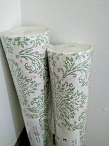 70s Vintage Floral Green Wallpaper 71 Square Feet Double Roll NOS Lot of 2