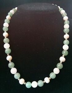 Freshwater Pearl, Rose Quartz Green Jade Stone Sterling Silver Necklace 19in
