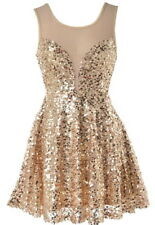 NWT DESIGNER GLITTERING GOLD SEQUIN BRIDESMAID PROM PARTY DRESS S/M 4 6 8 10