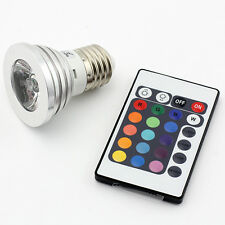 E27 3W RGB LED 16 Color Multicolor Changing Lamp Light Bulb + IR Remote Control