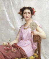 """Art Oil painting Guillaume Seignac - Vanity Young girl seated & Mirror roses 36"""""""
