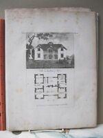 Vintage Print,VILLA IN LANDLICHEN STYLE,Rare Engraving,18th Century,
