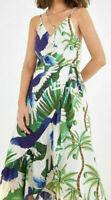 NWT $178 Anthropologie Farm Rio Sihana Wrap Maxi Dress Green Palms Floral Size L