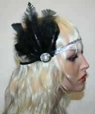 Feather Vintage Headpiece, 1920s Great Gatsby Headband, Soft Headband