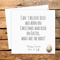 Personalised Handmade Happy Easter Card Funny Rude Egg Religion Jesus Born