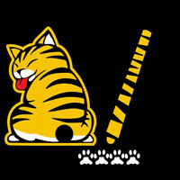 Yellow Cat Paw Tail Windshield Wiper Cartoon Decor Car Stickers Decal Waterproof