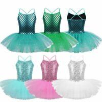 UK Girls Kids Gymnastics Ballet Leotard Tutu Dress Ballerina Dance Wear Costume