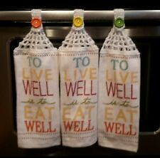 3 new Hanging Kitchen Towels with Crocheted top / EW