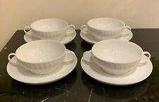 Thomas Germany China Lanzette Pattern Cream Soup Bowls and Plates Set of 4