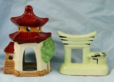 New listing 2 Vintage Pottery Bonsai Fish Tank Bowl Decorations Swim Through Pagodas Japan