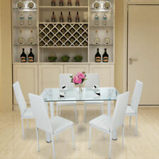 STUNNING GLASS DINING TABLE SET AND WITH 6 FAUX LEATHER CHAIRS WHITE UK Ship