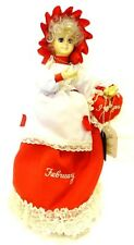 Brinns Doll February Valentines Red White Birth Month Musical Calendar Vintage
