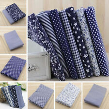7pcs Navy Series Squares Pre Cut Cotton Fabric Quilt Fabric Quarters DIY Craft