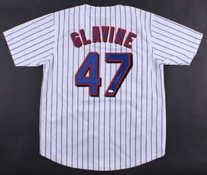 Tom Glavine Signed Mets Pinstipped Jersey (JSA COA) Won his 300th Game as a Met